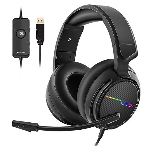 Jeecoo USB Pro Gaming Headset for PC- 7.1 Surround Sound Headphones with Noise Cancelling Mic- Memory Foam Ear Pads RGB Lights for Laptops