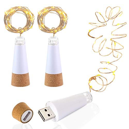 LED Bottiglia di sughero Luci, USB alimentato ricaricabile, 1.9m Filo di rame con 20 LED Stellato Luci a corda, per DIY arredamento All'aperto BBQ raduno Festa Nozze Vacanza (3 Pezzi, Bianco caldo)