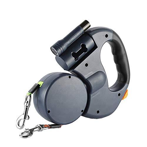 Doppelleine fur Zwei Hunde, Doppelleine, Die Einstellbare 360°-Drehung Ohne Verwicklungen mit Reflektierenden Streifen, Taschenlampe und Beutelspender für Hundekotbeutel Hunde Doppelleine Bietet Platz