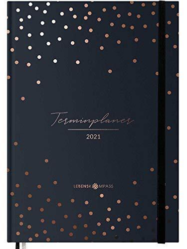 Terminplaner 2021 - Hardcover Wochenplaner mit 2 Lesebändchen - Terminkalender zum Planen, Organisieren und Notieren - Lebenskompass Kalender, Taschenkalender und Planer 2021