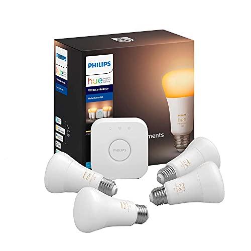 Philips Hue Ambiance Smart Bulb Starter Kit (4 A19 Bulbs and 1 Hub Works with Alexa Apple HomeK…