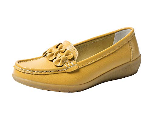 Zapatos de Cuero Cuña para Mujer Mocassins Planos Loafers Antideslizante Otoño Invierno Casual Derby,Amarillo,EU 37.5 =CN 38