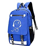 Mochila Luminoso Diseño del Bolso de Escuela de la taleguilla for los Muchachos de Carga USB de Alta Escuela Collage Adolescente Mochila Grande con Bloqueo antirrobo (Color : B Blue)