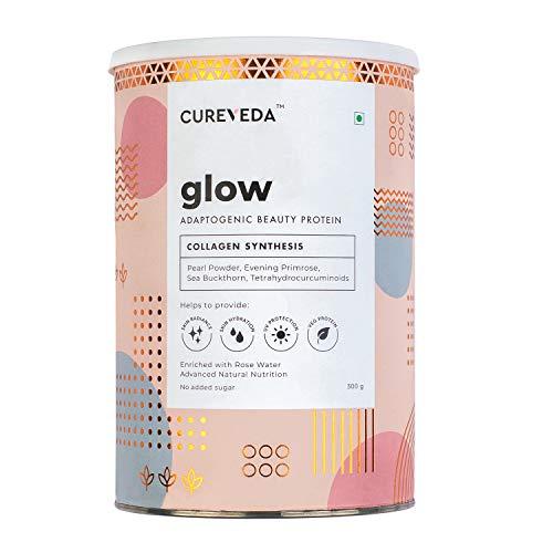 Cureveda Plant Based Collagen Builder Glow Powder for Women & Men Skin & Hair Anti-aging Supplement Beauty Protein,Evening Primrose 100IU VitaminE 300gm
