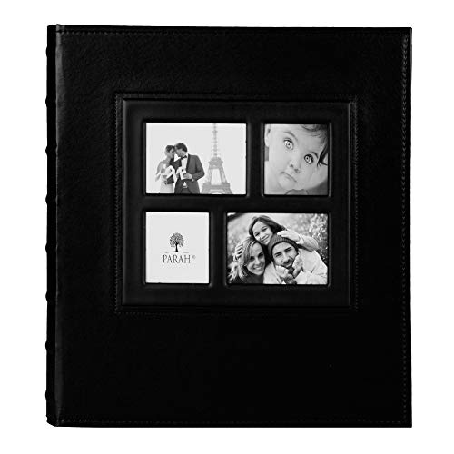 PARAH LIFE Premium 500 Photo Family Wedding Anniversary Baby Vacation Album Sewn Bonded Leather Book Bound Multi Directional 500 4x6 Photos 5 Per Page Large Capacity Deluxe Customizable Black