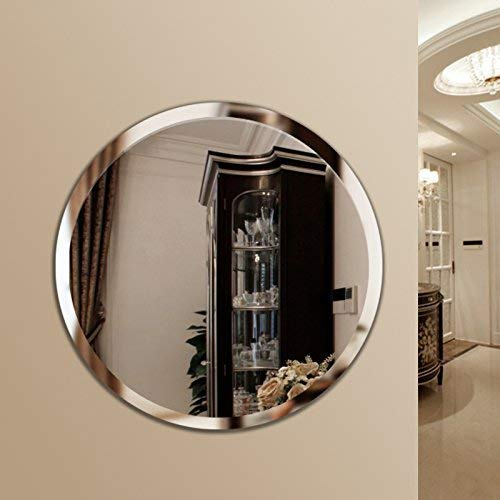 Quality Glass Frameless Round Mirror for Wall Bathrooms Home (24 x 24 inch, Silver)