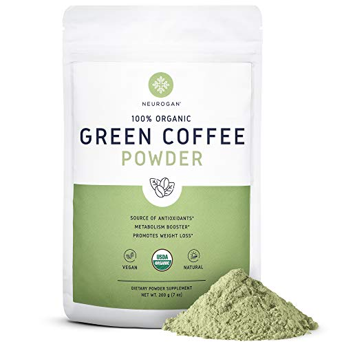 Neurogan Green Coffee Bean Powder Extract for Weight Loss, Improved Metabolism & Fat Burn - 200g, Maximum Strength Chlorogenic Acid - 100% Organic, Non-GMO, Vegan Friendly