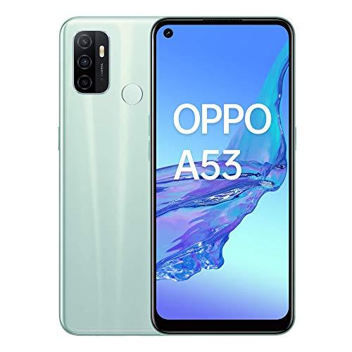 OPPO A53 Menthe Crème - 64 Go - 4 Go de RAM – Écran Immersif 90Hz - Batterie 5000 mAh - Double Haut-Parleur Stéréo - Triple Caméra avec IA - USB-C - Android 10 - Smartphone débloqué 4G