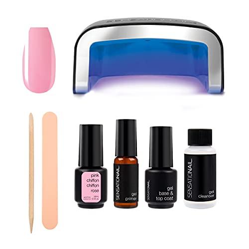 SensatioNail Gel Nail Polish Starter Kit, Pink Chiffon – At-Home Gel Nail Kit with Everything Needed for 10 Manicures – Lasts up to 2 Weeks – Includes an LED Nail Lamp for Glossy, Long-Lasting Finish