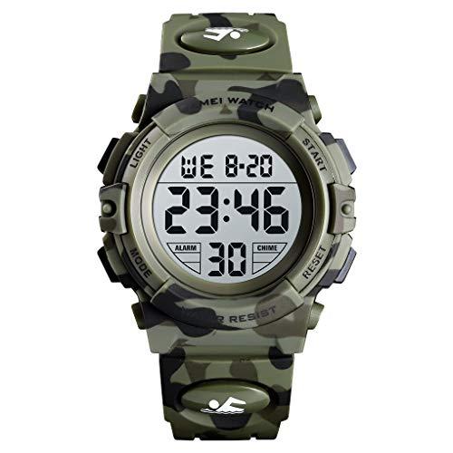 SKMEI Children Digital Camouflage Kid Watch LED Alarm 50M Waterproof Sport Wristwatches for Boy (Army Green Camouflage)