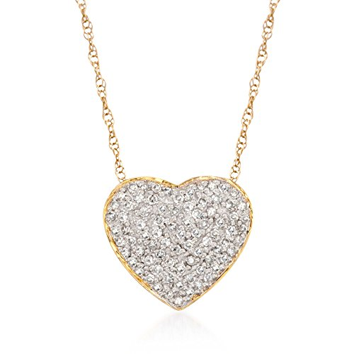 DIAMONDS AND 14KT YELLOW GOLD — .25 ct. t.w. diamond heart pendant necklace in 14kt yellow gold. Round diamonds. Polished finish. 16 in. long. Necklace drop is 1/2 in. wide. 1mm rope chain. Springring clasp. IDEAL FOR EVERYDAY WEAR — With its essential design, this lovely necklace wears well whether you're running errands, in the office or out with the girls. ROSS-SIMONS QUALITY — Treat yourself to the luxury of Ross-Simons fine jewelry. Whether your selection is made of 14kt gold, 18kt gold or gorgeous sterling silver, our jewelry always makes a lasting statement.