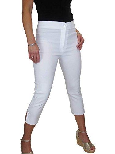 ICE Pantaloni a Vita Alta, Tessuto Elasticizzato Capri Bianco (44)
