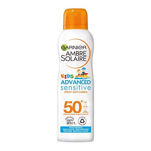 Garnier Ambre Solaire Spray Protettivo Anti-Sabbia IP 50+ Advanced Sensitive Kids, Protezione Molto Alta, Multi-Resistenza, 200 ml