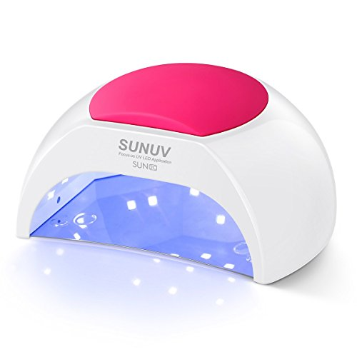 Gel UV Nail Lamp, SUNUV 48W UV LED Nail Dryer Light for Gel Nails Polish Manicure Professional Salon Curing Lamp with 4 Timer Setting Sensor SUN2C(one pink pad)
