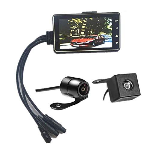 GCDN Moto Caméra Embarquée 1280x720P HD 3inch Écran LCD 140° Grand Angle Lentille Double Avant et Arrière Vidéo Enregistrement Moto Enregistrement Camera , IP68 Imperméable, Boucle Enregistrement