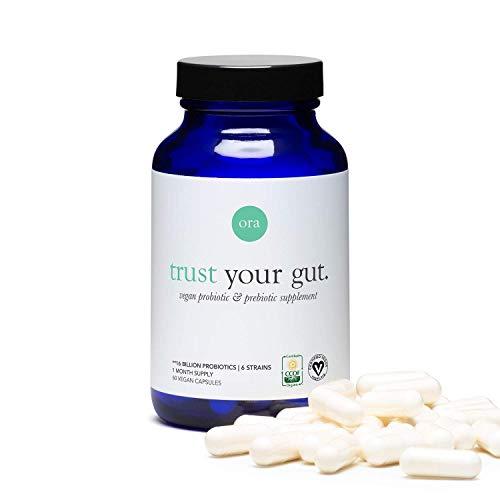 Ora Organic Probiotics with Prebiotics - Vegan Prebiotic and Probiotic for Digestive Health | Dairy-Free, Gluten-Free, for Sensitive Stomachs - 60 Easy-Swallow, Vegan Capsules, 1 Month Supply 1