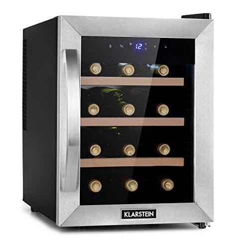 KLARSTEIN Reserva Uno - Frigorifero per Vini, Cantinetta, Temperatura: 11-18 C, Silenzioso: 26 dB, 3 Ripiani in Legno, Luce LED, Protezione da UV, 31 L/12 Bottiglie, Nero