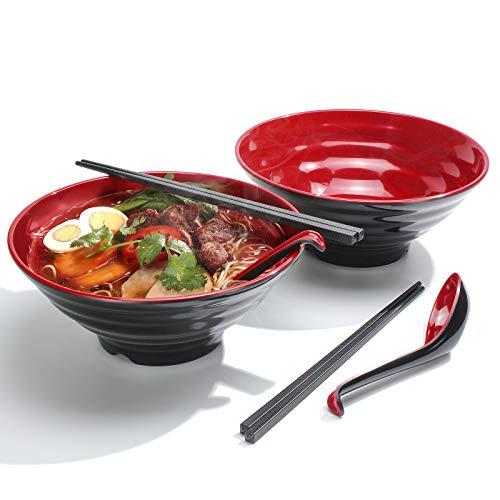 2 Set (6 Pezzi) Ciotole per Ramen, Capacità 1032 ml Ciotola per Zuppa Giapponese con Cucchiaio e Bacchette, Applica a Pasta Asiatici Ramen, Lavabile in Lavastoviglie (Rosso, 2 PCS)