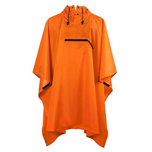 Terra Hiker Regenponcho, leichte Regenjacke für Erwachsene, Männer/Frauen Wasserdichter Regenmantel mit Kapuze für Outdoor-Aktivitäten, Schwarz & orange wählbar
