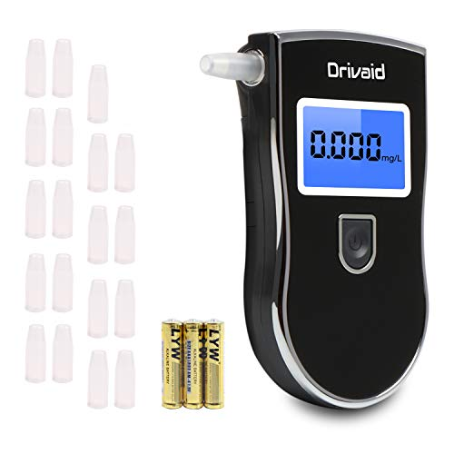 Drivaid Alcoholimetro Digital Homologado, Profesional Portátil de Alcohol con Pantalla LCD,Semi-Conductor de la Tecnología de Sensor,20 Boquillas, 3 baterías AAA
