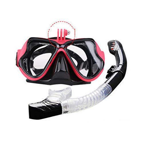 JS Set per Occhiali da Sub Snorkel, Adulto può Installare Gopro Sports Camera Snorkeling Mirror, Occhiali da Immersione in Vetro Temperato Antiappannamento Impermeabili Unisex