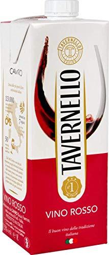 Tavernello Vino Rosso dItalia - Generoso e Profumato - Ideale con Primi Piatti, Arrosti, Carni Rosse e Formaggi - Contenitore Richiudibile Tetra Brik Aseptic 11,5% vol - 1 litro (Red)