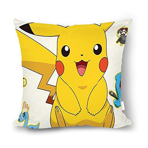 chunhua Pokemon Pikachu Funda de Almohada Cuadrada, cojín de algodón sin Funda de Almohada de 45 x 45 cm