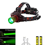 BESTSUN Hunting Headlamp Zoomable Brightest Green CREE XML-T6 LED Night Hunting Light Waterproof Rechargeable Headlight for Coyote Hog Varmint Predator with Rechargeable Batteries and USB Cable