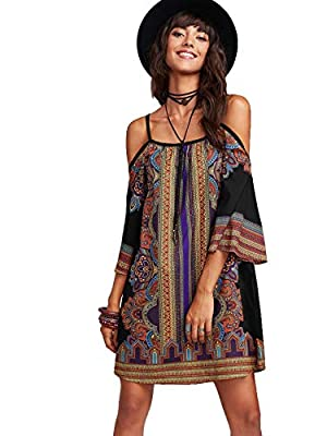 Material: 95% Polyester, 5% Spandex; Fabric has no stretch Feature: Boho, Cold Shoulder, Floral Tribal Print, 3/4 Sleeve, Spaghetti Strap, Tunic Dress This Boho dress is casual and beautiful, Suitable for Summer, Vacation, Beach, Casual Outtings, Hom...