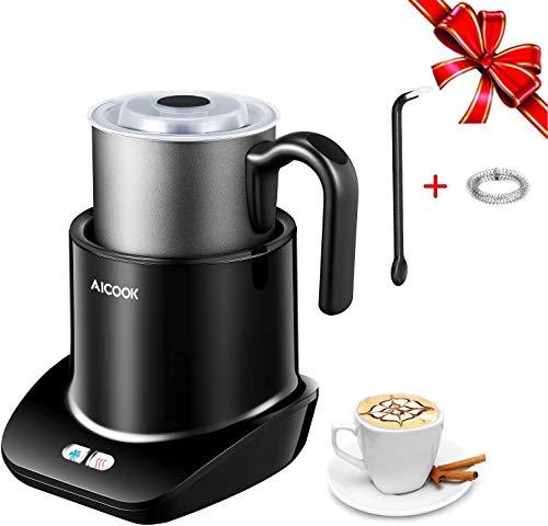 Milchaufschäumer, Aicook Milchaufschäumer elektrisch für heißen und kalten Milchschaum, Abnehmbarer Spülmaschinenfester Milchkrug, 150ml/300ml, Perfekt für Cappuccino, Latte