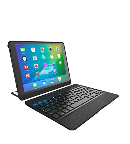ZAGG Rugged Book Pro   Magnetic-Hinged   Multi Pairing   Durable stand Case & Detachable Wireless Backlit Keyboard   for Apple iPad PRO 9.7-inch [4th Gen 2016] & iPad Air 2   - Black