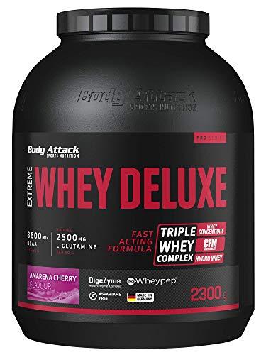Body Attack Extreme Whey Deluxe, Eiweißpulver mit Aminosäuren, Triple-Whey-Complex, CFM Whey Isolate, perfekt lösliches Protein-Pulver, fettarm, zuckerarm, Made in Germany, Cherry Cream, 2,3 kg
