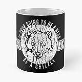 Bear The Black Standing Idea Grizzly Brown Moon Under Cool Best Taza de café de cerámica de 315 ml Personalizar