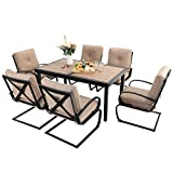 Sophia & William Patio Dining Set 7 Piece Expandable Outdoor Table Furniture Set with 6 Metal Spring Motion Dining Chairs and 1 Rectangular Bistro Deck Table with Leaf, Beige