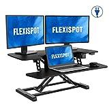 FlexiSpot Motorized Standing Desk Converter- 36' Wide Electric Stand up Desk Riser for Monitor and Laptop,Black Height Adjustable Desk for Home Office EM7MB
