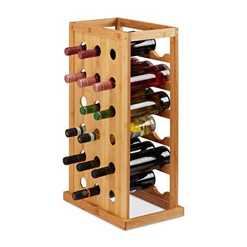 Relaxdays Cantinetta Scaffale Salvaspazio per 18 Bottiglie Formato Orizzontale bamb HLP 66,5x39x25,5...