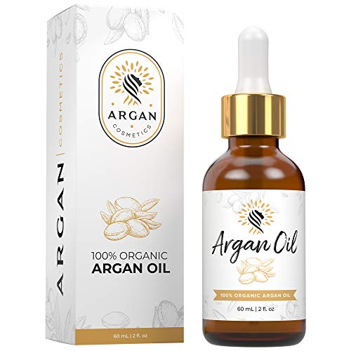 Argan Cosmetics 100% Pure Organic Moroccan Argan Oil for Hair, Skin, Nails, Cuticles, Face & Beards - Cold Pressed, Unscented - Filtered Through Cotton & Charcoal - All Natural Moisturizer - 2 Fl Oz