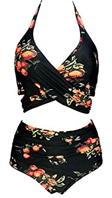 FOR: Swim, surf, stand-up paddleboard, and all water sports Hand wash cold, line dry;Polyester Spandex Swimsuit Fabric Pattern:Cross Wrap Underwire Clip Tie Back Top Swimwear Retro Full Coverage High Waisted Ruched Ruffle Sporty Bikini Set Hidden Und...