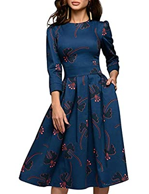 Material:Polyester Features:Round Neck,3/4 Sleeve,Two Side Pocktes,Back Center Zipper Closure,Midi Knee Length,Floral Print Dress,Vintage Midi Dress. Perfect Vintage Midi Dress for Autumn,Winter and Early Spring Seasons. Occasion:Suitable for Work,Co...