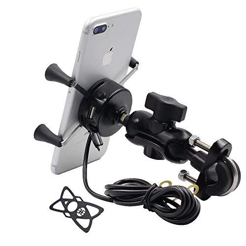 TurnRaise Universal Motorrad Halterung Drehbare Handy-Halter mit USB-Ladegerät für 3.5 to 6 inch Screen