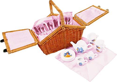 """Small Foot by Legler Picknickkorb """"Romantik"""", ein praktischer Weidenkorb mit stabilem Tragegriff, für 4 Personen, mit allen Utensilien für ein traumhaftes Picknick im Freien, im kindgerechten Design mit niedlichen Mäusemotiven"""