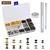 Double Capped Rivets - 480 Sets Leather Rivets, 6-8mm Double Head Rivet Studs Metal Purse Notions Rivet Studs with Setting Tools for Clothes Bag/Belt Leather Craft Repair Decoration