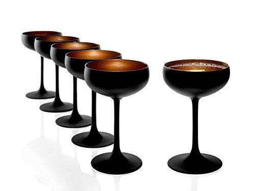 STÖLZLE LAUSITZ Set di 6 Bicchieri da Spumante Nero (Opaco) Bronzo I Coppe da Cocktail in Cristallo pregiato 230ml I Set di Coppe da Champagne Lavabili in lavastoviglie infrangibili I Coppe