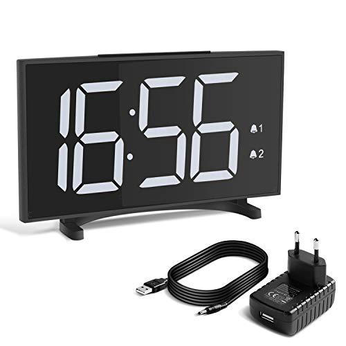 Yissvic Digital Wecker Uhr Tischuhr 12/24H Dual Alarm Easy Snooze 6 Einstellbare Helligkeit MEHRWEG (Weiss)
