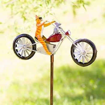 HJKK Sculptures De Vent De Bicyclette Vintage en Métal Spinner, Moulin À Vent De Grenouilles, Girouette De Jardin Exterieur Chat,pour Jardin Décoration De Jardin D'extérieur(Chat et Souris)
