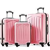 YINKUU Juego de 3 maletas de plástico ABS ligero con carcasa rígida y 4 ruedas giratorias, juego de maletas