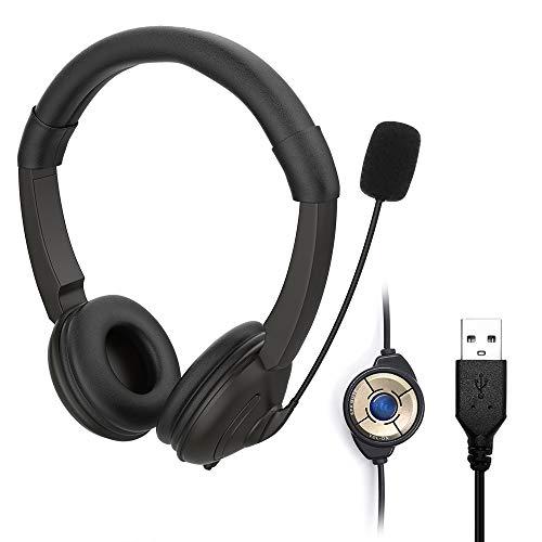 KLHY Cuffie Stereo USB con Microfono per PC, Microfono a Cancellazione del Rumore e Controllo del Volume, Plug And Play, Auricolare Laptop UC Business per Skype/Call Center/Ufficio/Scuola/Chat