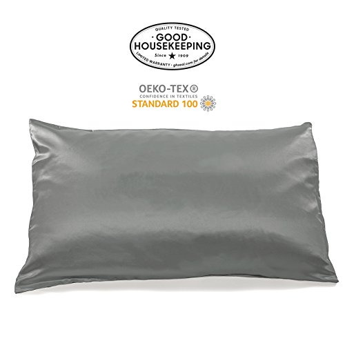 Fishers Finery 19mm 100% Pure Mulberry Silk Pillowcase Good Housekeeping Quality Tested (Gray, K)