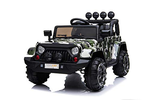 TOYSCAR electronic way to drive Auto Macchina Elettrica per Bambini Fuoristrada Army 12V MP3 LED con Telecomando Full Optional