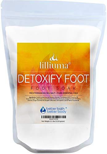 Detoxify Foot Soak 40 Ounces Mediterranean Sea Salt with Lemon, Orange, and Ginger Essential Oils, Natural Detox Foot Soak
